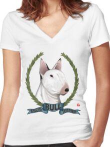 ENGLISH BULL-TERRIER Women's Fitted V-Neck T-Shirt