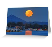 Moonset over Noosa River Greeting Card