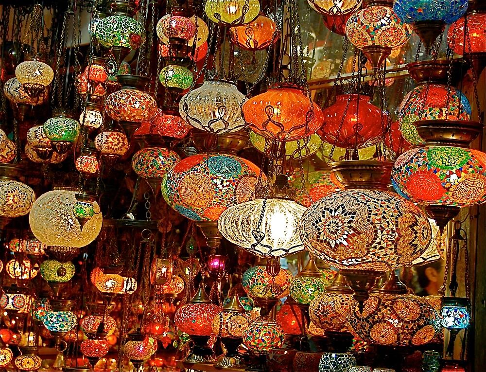 Lanterns in the Grand Bazaar, Istanbul by Johannes  Huntjens