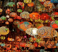 Lanterns in the Grand Bazaar, Istanbul by Johannes  Huntjens