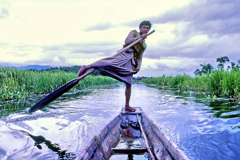 Leg rower, Inle Lake, Burma by John Spies