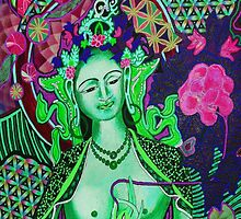 Green Tara - Flower of Life by Kevin J Cooper