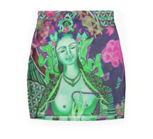 Green Tara - Flower of Life Mini Skirt