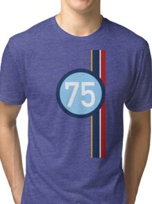 '75' Racing number with RAF roundel colour stripes Tri-blend T-Shirt