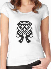 FUCKIN LIVING DIAMOND AND GUNS Women's Fitted Scoop T-Shirt