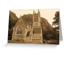 Neo Gothic church Kylemore. Connemara, County Galway. Greeting Card