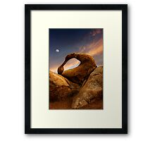 Sunset Over Mobius Arch in the Alabama Hills. Framed Print