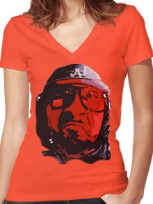 angry red FACE Women's Fitted V-Neck T-Shirt