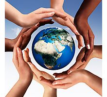 Multiracial hands making a circle together around the world globe art photo print Photographic Print