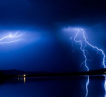 Lightning Storm Over the Lake by Bo Insogna