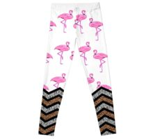 Pink Flamingo Pattern Animal Print Chevron Stripes Leggings