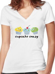 Cupcake Crazy  Women's Fitted V-Neck T-Shirt