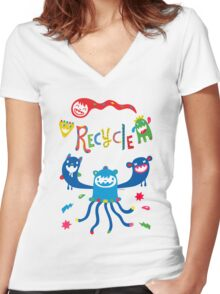 Recycle Monsters   Women's Fitted V-Neck T-Shirt