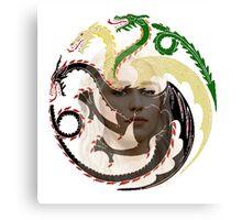 Daenerys Targaryen and her dragons sigil Canvas Print