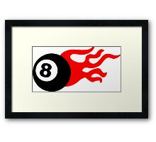 Eight Ball and Flames Framed Print