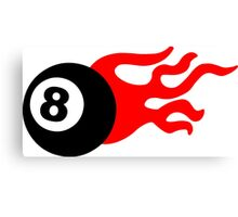 Eight Ball and Flames Canvas Print