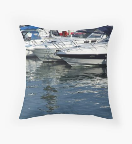 Reflections at Brighton Marina Throw Pillow