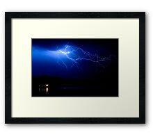Lake Lightning Sky Framed Print