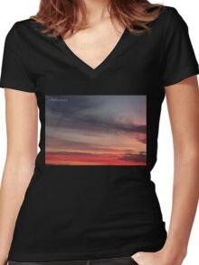 Pinkwash_Sky Women's Fitted V-Neck T-Shirt