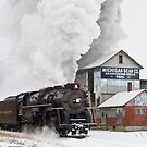 Pere Marquette 1225 Passes the Michigan Bean Company by Darryl Wattenberg