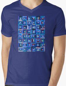 Blue Note Quilt Mens V-Neck T-Shirt