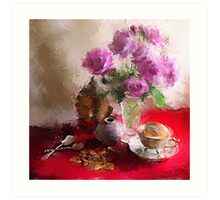 Roses, Cups and Buddha Art Print