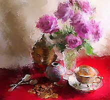 Roses, Cups and Buddha by © Helen Chierego