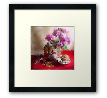 Roses, Cups and Buddha Framed Print