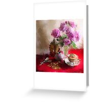 Roses, Cups and Buddha Greeting Card