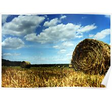 Hayfield and White Clouds Poster