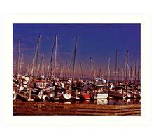 Boats In California  Harbor Art Print