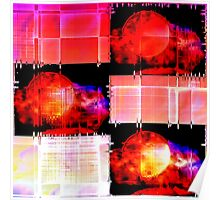 Red Cubist Moon Abstract Poster