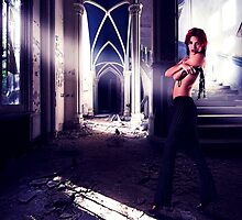 Fashion Model In Abandoned House by stockfineart