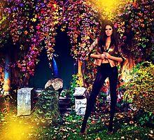 Beautiful Model In The Garden by stockfineart