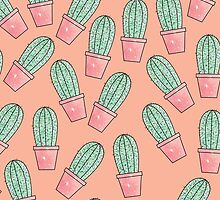 Cute Baby Faux Sparkly Cactus on Coral Pink by Blkstrawberry