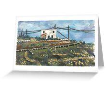 White house on the hill Greeting Card