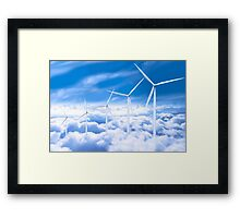 Wind Turbines in the sky Framed Print