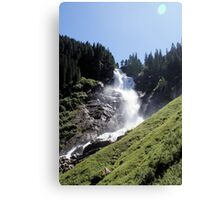 Perfect setting for a postcard, greetingcard, waterfal mountains Canvas Print