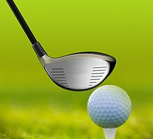 Golf ball and driver on green grass by Digital Editor .