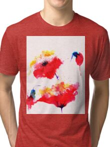 """Two red flowers"" Tri-blend T-Shirt"