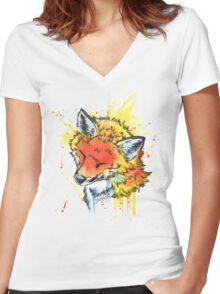 Fox Watercolor Women's Fitted V-Neck T-Shirt