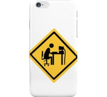 Man sitting at an office desk. iPhone Case/Skin