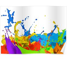 Colourful paint splashes Poster