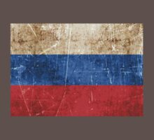 Vintage Aged and Scratched Russian Flag One Piece - Short Sleeve
