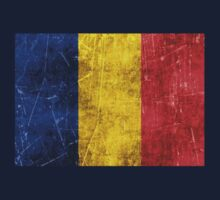 Vintage Aged and Scratched Romanian Flag Kids Tee