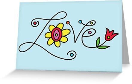 Love Card - blue  by Andi Bird