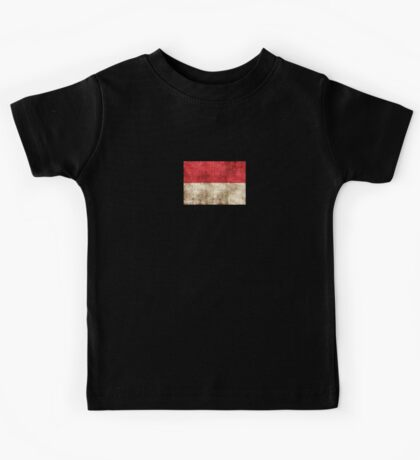 Vintage Aged and Scratched Indonesian Flag Kids Tee