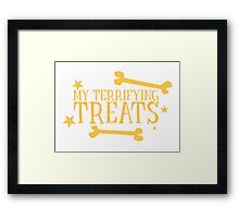 My terrifying treats- perfect funny design for Halloween! Framed Print