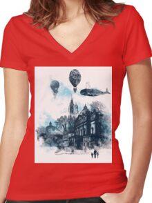 strange town Women's Fitted V-Neck T-Shirt