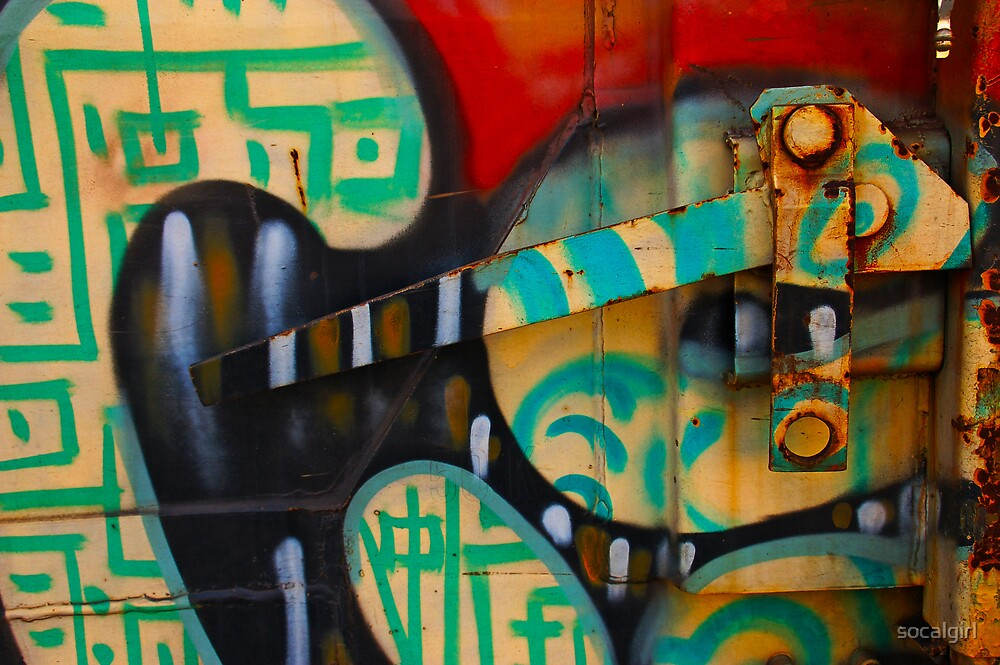 Train Lever with grafitti by socalgirl